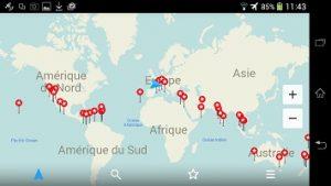 Notre Tour du monde dans l' Application GPS hors connexion