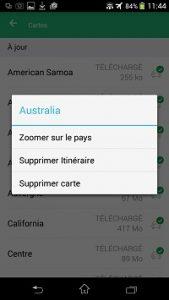 Possibilité de zoomer sur une carte ou la supprimer depuis l'application gps hors connexion