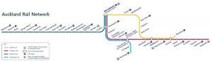 Escale Auckland Nouvelle-zelande carte transports en train