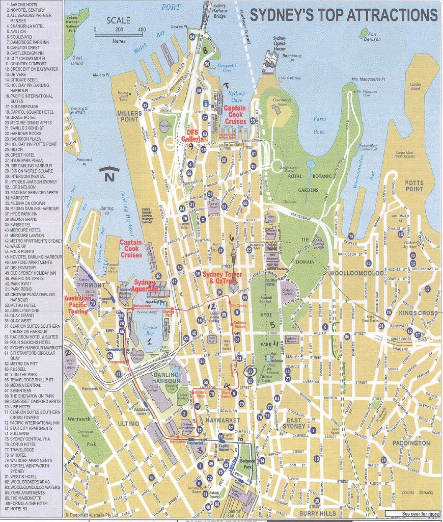 Carte touristique de Sydney