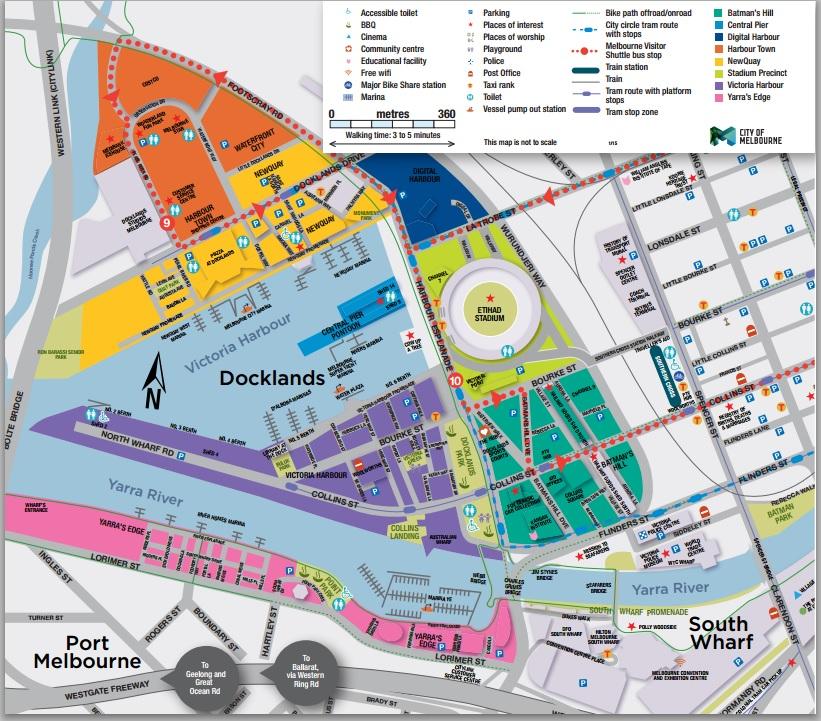 Carte des Docks Melbourne