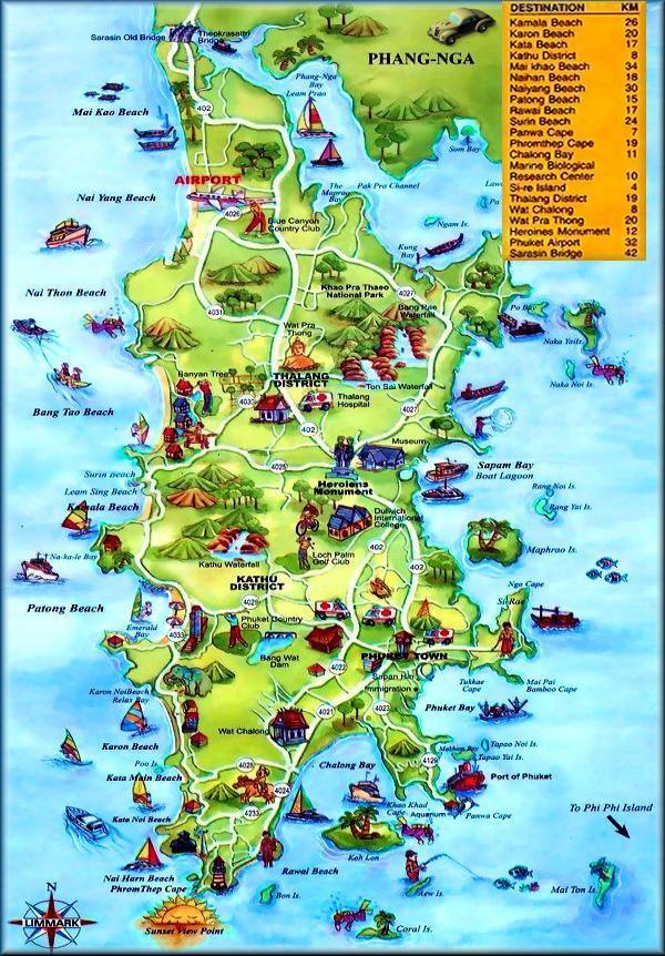 carte touristique de phuket croisi re tour du monde pr paratifs infos escales excursions. Black Bedroom Furniture Sets. Home Design Ideas