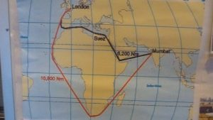 La carte du passage du canal de Suez