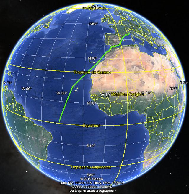 Croisière tour du monde Austral 2017 Le Costa Luminosa passe l'équateur ce soir vers 22h