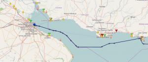 Croisière tour du monde Austral 2017 Parcours du Costa Luminosa entre Punta del Este et le Port de Buenos Aires