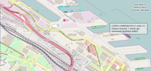 Croisière tour du monde Austral 2017 Position du Costa Luminosa au Port de Buenos Aires