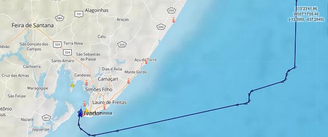 Croisière tour du monde Austral 2017 trajet du Costa Luminosa pour son arrivée au port de Salvador au Brésil