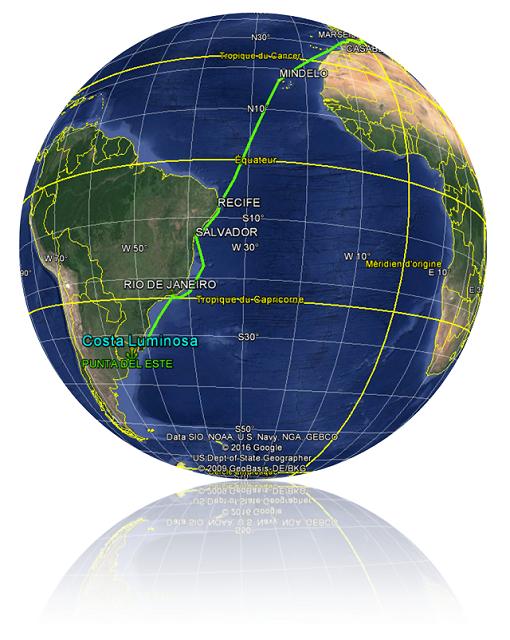 Croisière tour du monde Australe 2017 La position du Costa Luminosa