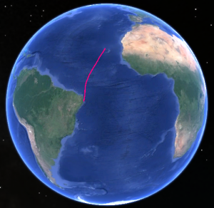 Trajet du Costa Luminosa entre Mindelo au Cap Vert et Recife au Brésil