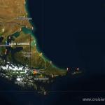 Croisière tour du Monde Austral 2017 Position du Costa Luminosa à l'ancre devant Punta Arena au Chili