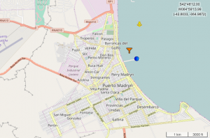 Position du Costa Luminosa à Puerto Madryn en Argentine