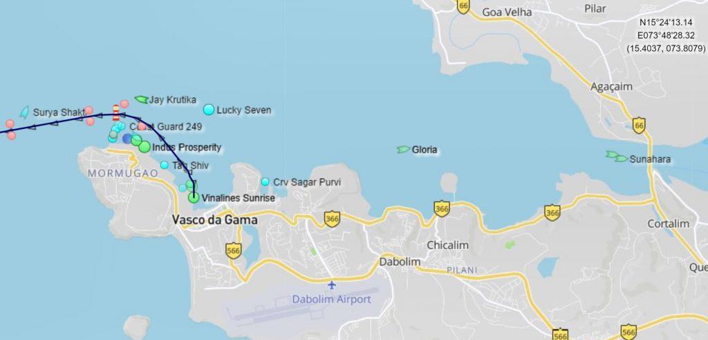Position du Costa Luminosa au Port de Goa (Mormugao - Vasco de Gama)