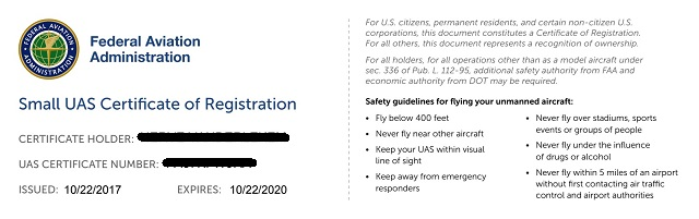 Certificat FAA USA drone