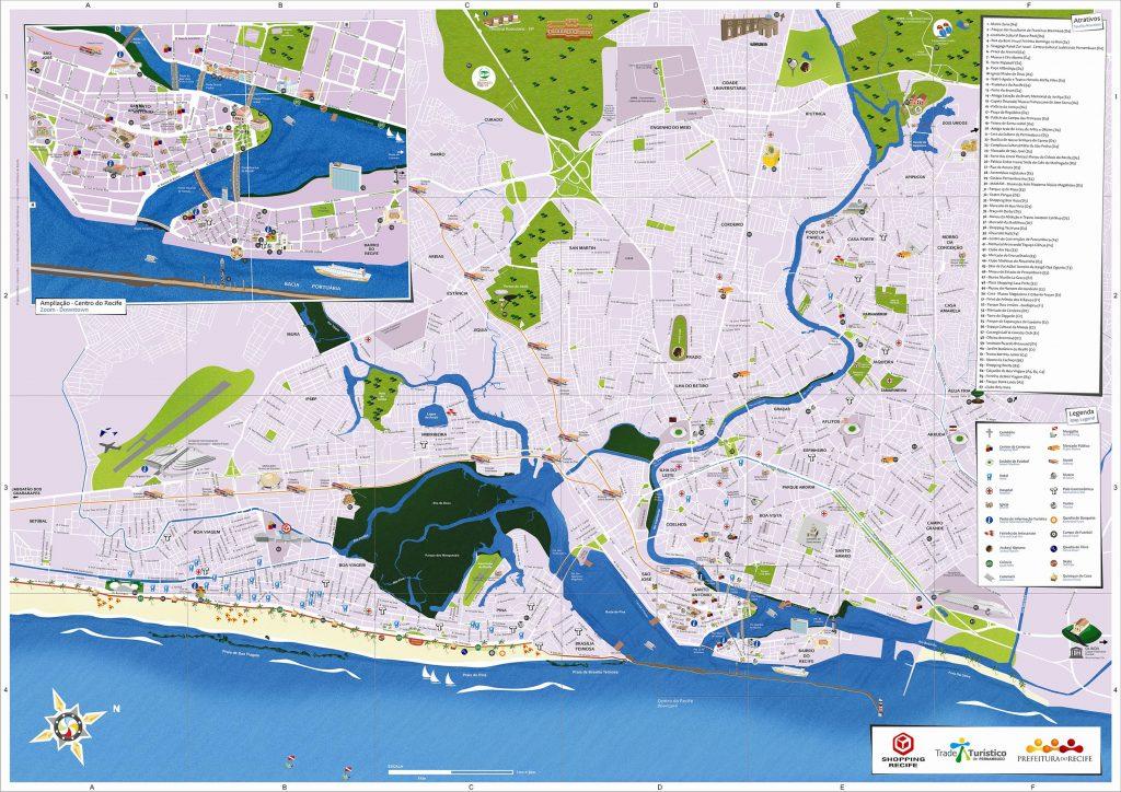 Carte touristique complète de Recife au Brésil