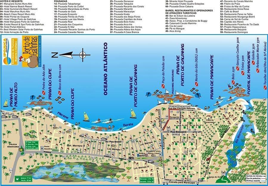 Carte touristique de Porto de Galinhas Brésil