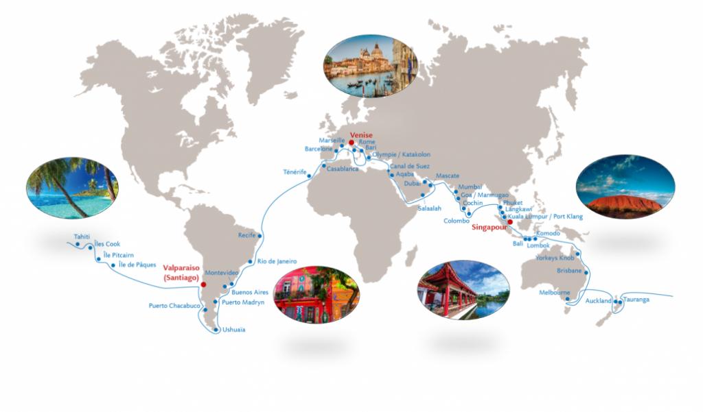 Parcours du tour du monde Costa Luminosa 2019