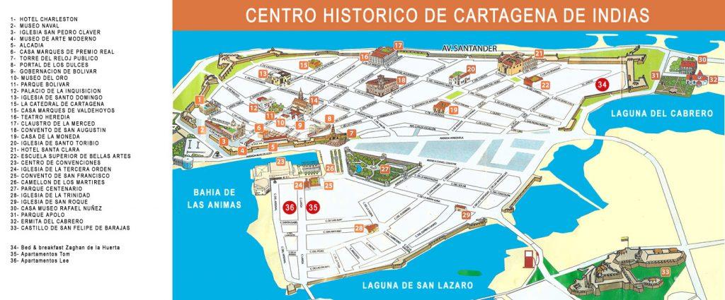 Escale Carthagène (Colombie) Carte touristique