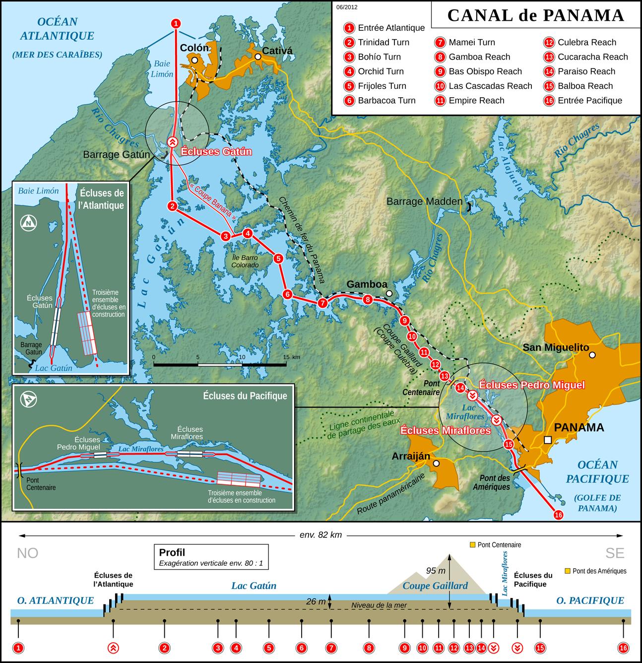 Carte du canal de Panama