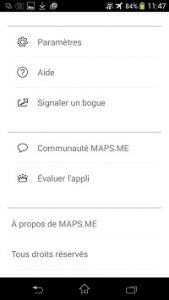 Menu de paramétrage de l'application gps hors ligne