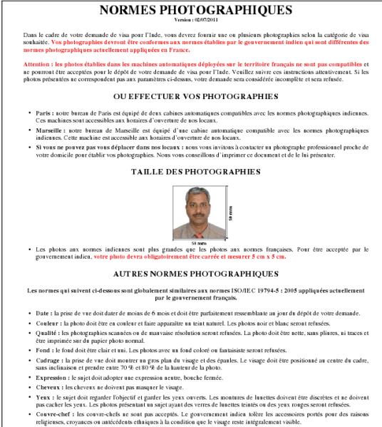 Caractéristiques photo identitéé visa Inde