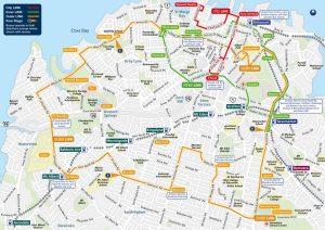Escale Auckland Nouvelle-zelande carte transports en commun