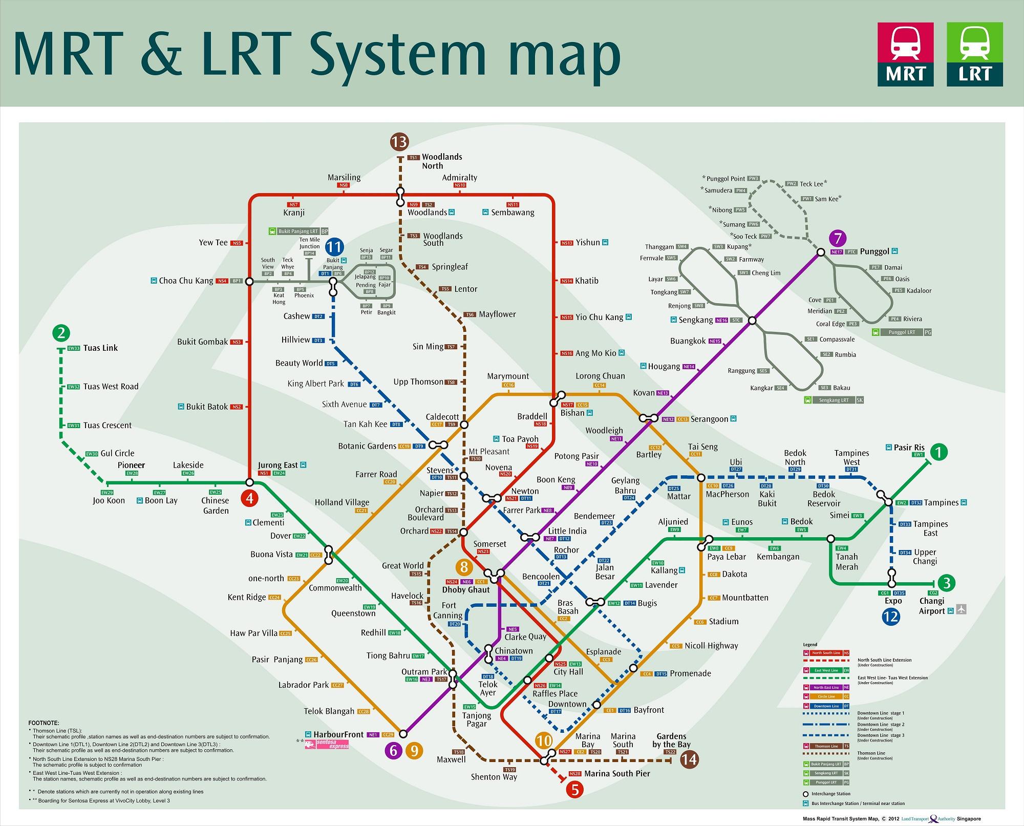 Carte Metro Singapour MRT | croisiere tour du monde.info