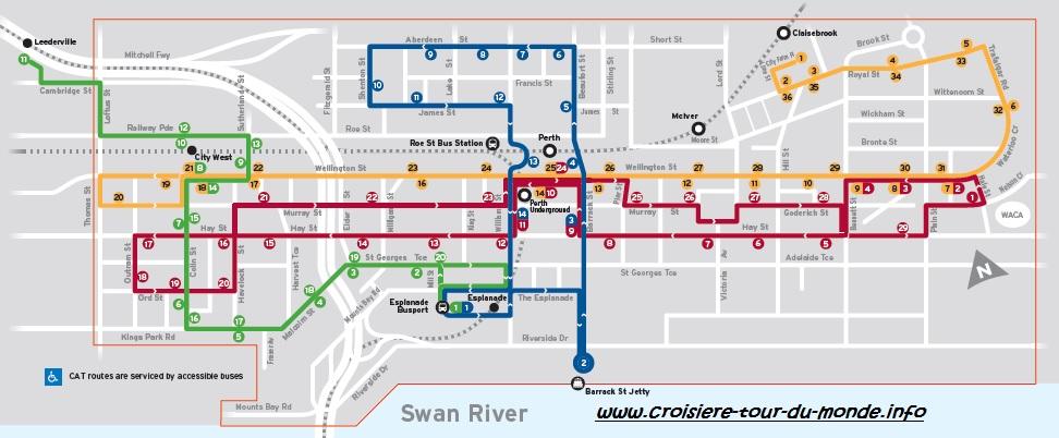 Carte bus zone gratuite Perth