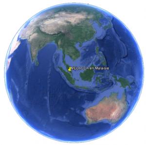 Croisière tour du monde Position Melacca en Malaisie
