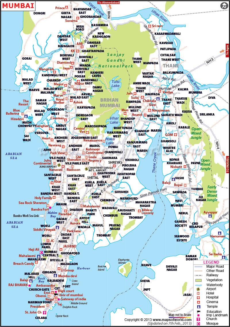 Carte touristique de Bombay Mumbai