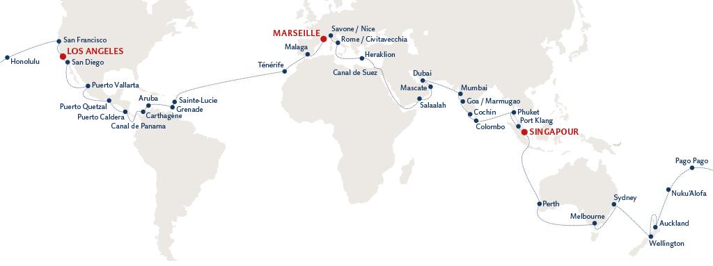 Carte tour du monde Costa Croisière septembre 2016