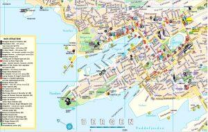 Carte touristique Bergen Norvège