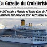 La Gazette du Croisiériste Le costa Luminosa fait route vers sainte lucie