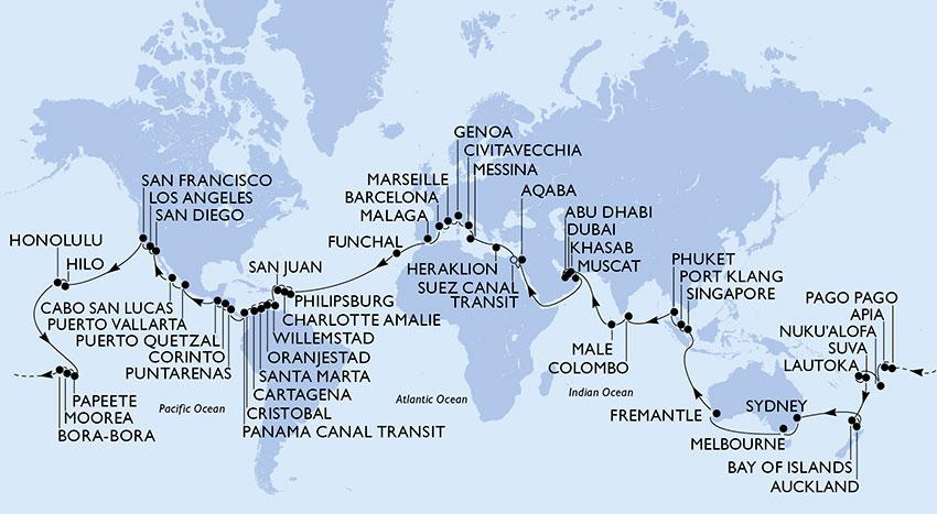 Carte de la Croisière tour du monde MSC World Cruise 2019