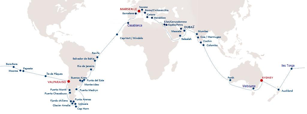 Carte Croisière tour du monde Costa Croisières Janvier 2017