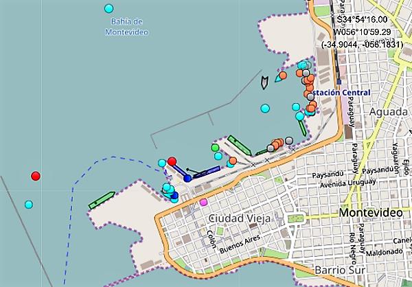 Croisière tour du monde Austral 2017 Position du Costa Luminosa au Port de Montevideo