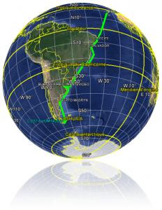 Croisière tour du monde Austral 2017 La Planisphère du parcours du Costa Luminosa depuis son départ