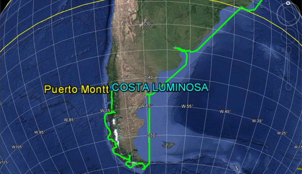 Croisière tour du monde Australe 2017 Parcours du Costa Luminosa jusqu'à PUERTO MONTT (Chili)