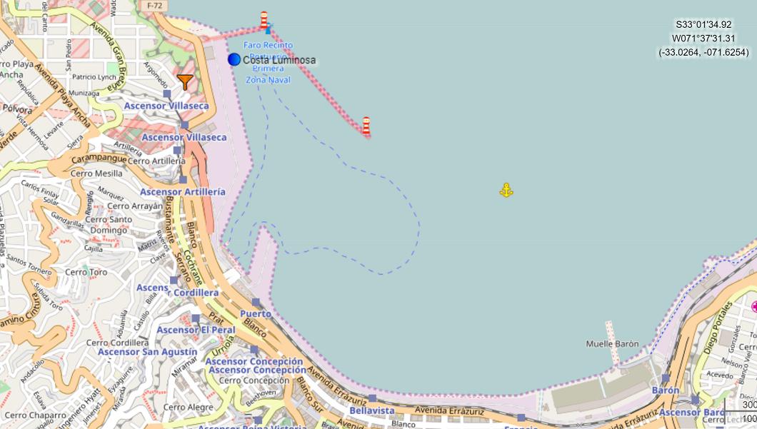 Croisière tour du monde Australe 2017 Position du Costa Luminosa au Port de Valparaiso  Chili