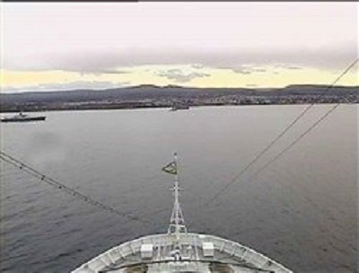 Webcam avant du Costa Luminosa arrivant à Punta Arenas