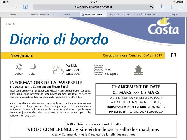 Journal de Bord annonçant le changement de date