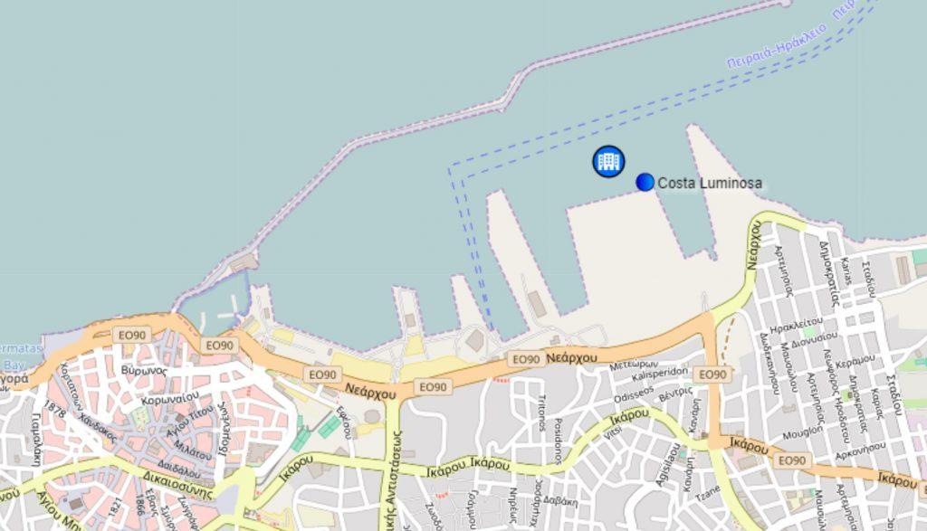 Position du Costa Luminosa à Héraklion en Crète