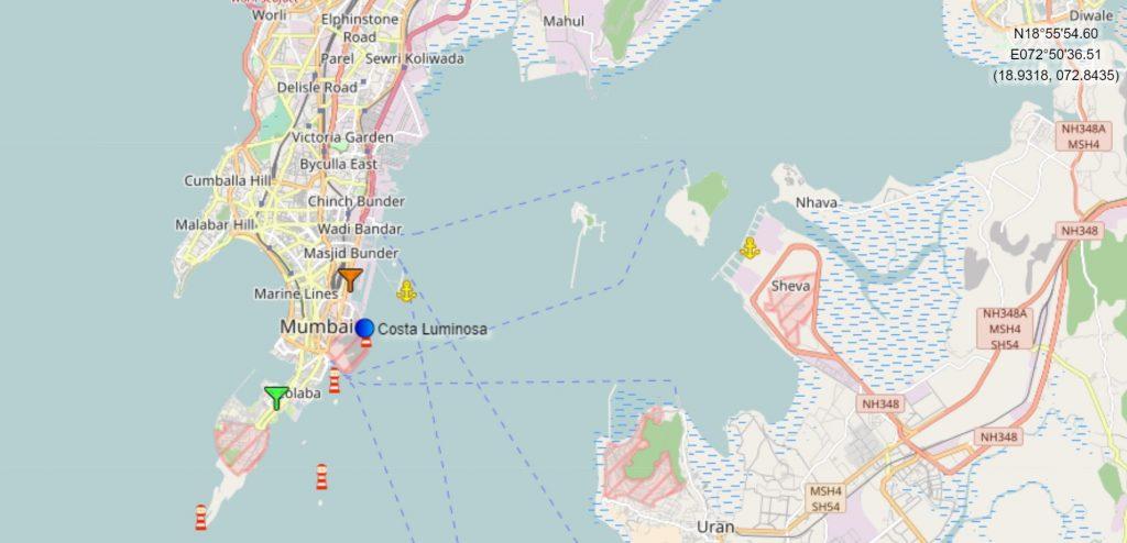 Position du Costa Luminosa au Port de Bombay - Mumbay