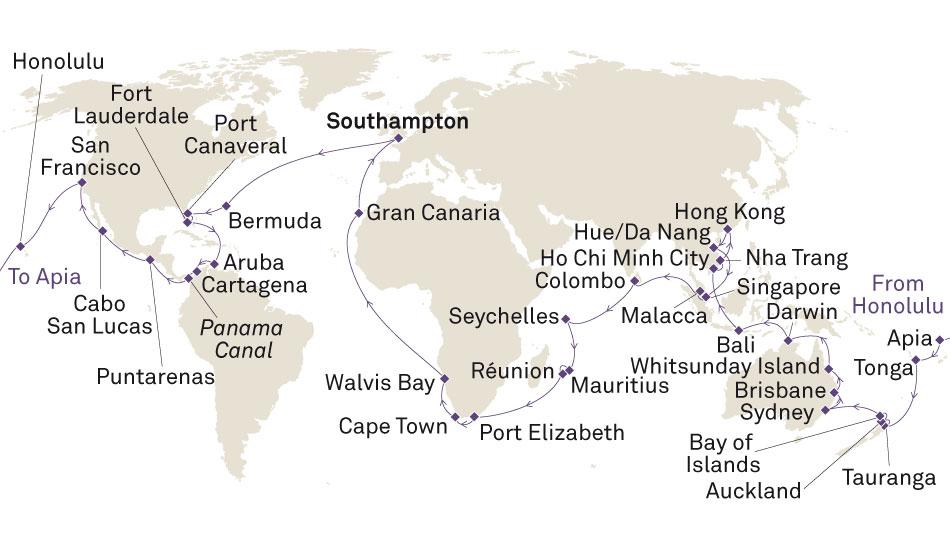 itineraire de la croisière tour du monde Cunard Queen Victoria 2019