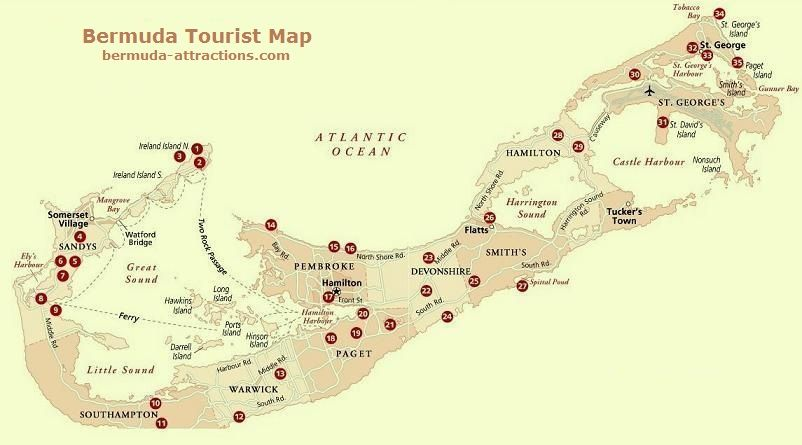 Carte des points interets aux Bermudes