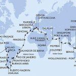 Le Parcours de la croisière tour du monde MSC 2020