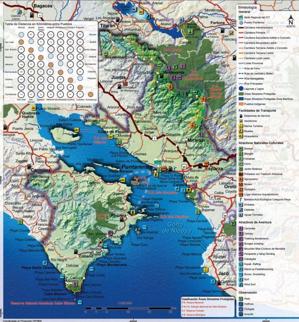 Carte touristique régionPuntarenas au Costa Rica