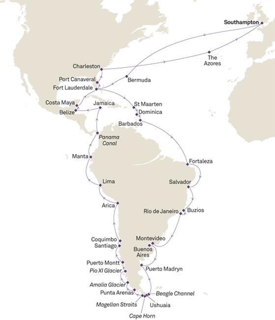 Itinéraire de la croisière tour du monde Cunard QV2018