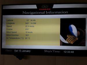 Position du bateau au 13 Janvier