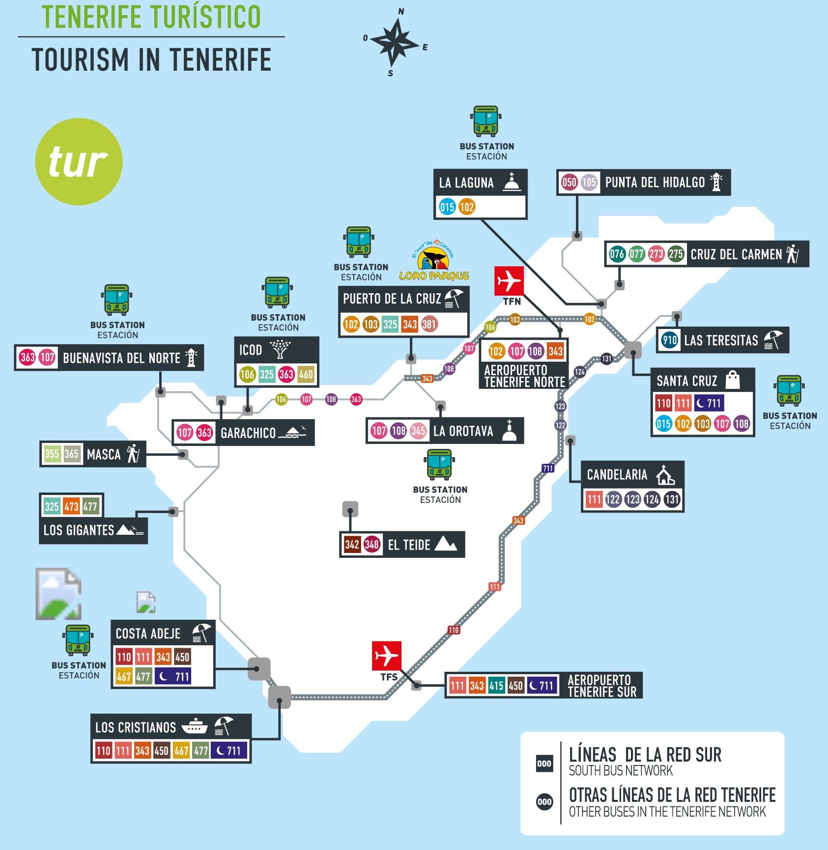 Carte Tenerife.Carte Tenerife By Bus Croisiere Tour Du Monde Info