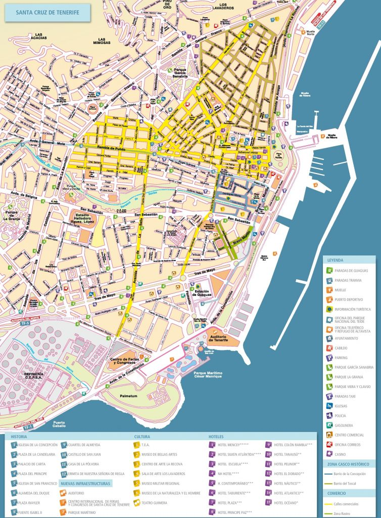 Carte de la ville de santa cruz de tenerife